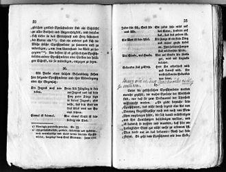Marginalia - This piece of Wahrheit und Dichtung by Melchior Kirchhofer has pencil notes that might have been written by Josef Eiselein.