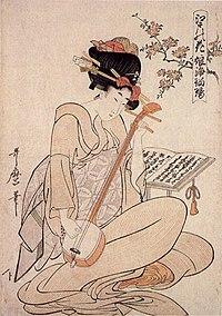 Geisha jouant du shamisen, peinture japonaise de 1800.