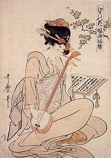 "Kitagawa Utamaro, ""Flowers of Edo: Young Woman's Narrative Chanting to the Samisen"", ca. 1880"