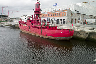 Lightvessels in Ireland - Kittiwake lightvessel for sale in 2009 moored in River Liffey