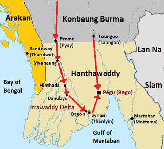 Konbaung–Hanthawaddy War war fought between the Konbaung Dynasty and the Restored Hanthawaddy Kingdom of Burma (Myanmar) from 1752 to 1757, ended the Mon peoples centuries-long dominance of the south
