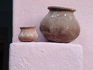 Matki (earthen pot) - A matki (small earthen pot) with another smaller pot 'budga' used to drink water