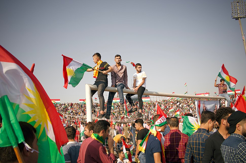 Kurdish flags at the pro-Kurdistan referendum and pro-Kurdistan independence rally at Franso Hariri Stadiu, Erbil, Kurdistan Region of Iraq 10