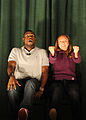 "Kyle Terry and Amber Kelly perform ""Sex Signals"" Oct. 16, 2008, at the theater at Cannon Air Force Base, N.M. The play educates U.S. Airmen about preventing sexual assaults by mixing improvisational comedy 081016-F-ML202-020.jpg"