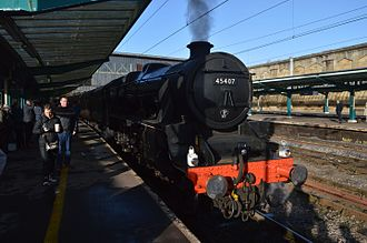 """LMS Stanier Class 5 4-6-0 5407 - 45407 waiting in the platform at Carlisle to depart with the return leg of """"The Winter Cumbrian Mtn Express"""" on Sat 24 January 2015."""