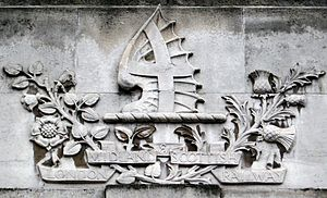 London, Midland and Scottish Railway - LMS crest, carved into the stonework at   Leeds station