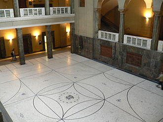 White Rose - Atrium of the Munich University main building, where Hans and Sophie Scholl were arrested on 18 February 1943