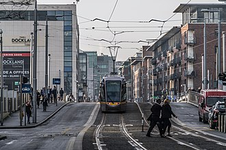 Dublin Docklands - A Luas tram at Spencer Dock