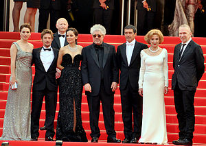 The Skin I Live In - Cast and director at the Cannes Film Festival premiere; from left to right at forefront: Blanca Suárez, Jan Cornet, Elena Anaya, Almodóvar, Antonio Banderas, Marisa Paredes and Jean-Paul Gaultier.