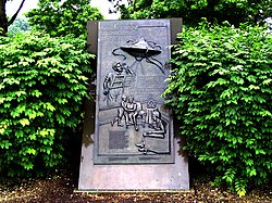 """Martian landing site"" historical marker in Grover's Mill, commemorating the War of the Worlds radio broadcast"