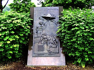 Martian - The Martian Landing Site monument in West Windsor, New Jersey commemorates the 1938 broadcast of the radio drama The War of the Worlds, in which West Windsor is the first landing site of the Martian invasion. Many listeners believed the broadcast to be a news report.