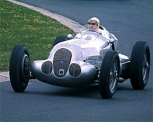 Hermann Lang - Lang, third in the 1937 European Championship, demonstrates a Mercedes-Benz W125 in 1977