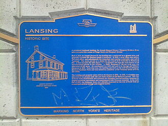 Sheppard Avenue - Lansing historical plaque on Sheppard Avenue.