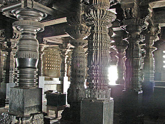 Lathe - Lathe turned pillars at Chennakeshava temple in Belur