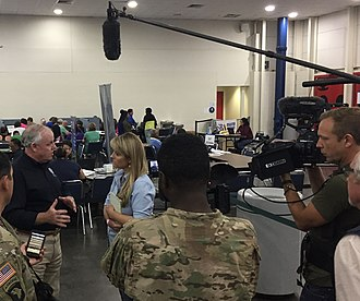 Laura Sullivan - Laura Sullivan interviewing a FEMA manager after Hurricane Harvey in 2017 at the Houston Convention Center