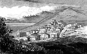Cargèse - A view of Cargèse in 1868 from Edward Lear's Journal of a landscape painter in Corsica.