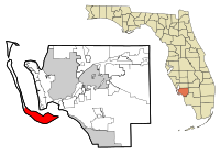 Lee County Florida Incorporated and Unincorporated areas Sanibel Highlighted.svg