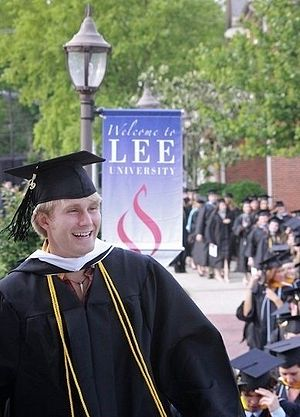 English: A young man graduates from Lee Univer...