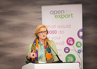 Open to Export - Lesley Batchelor, CEO of Open to Export, compering an 'Export Action Plan Competition.