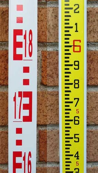 Level staff - Two sides of a modern surveyor's levelling rod. Metric graduations are on the left, imperial on the right.