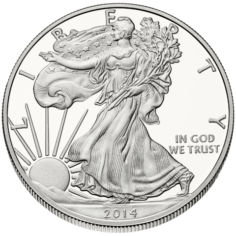 obverse side of the 1 oz American Silver Eagle coin