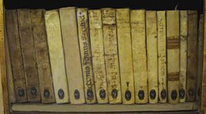 Ancient books, with a parchemint cover. Photog...