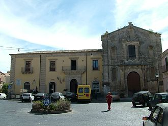 Licodia Eubea - Town Hall and Church of the Rosary.