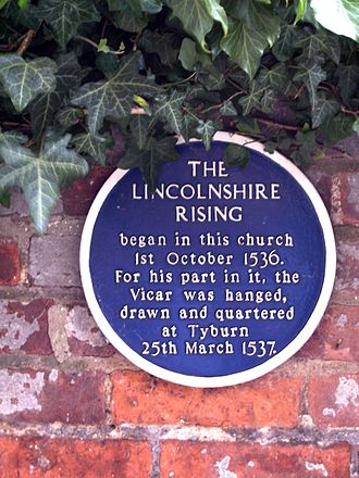 Pilgrimage of Grace - Plaque commemorating the Lincolnshire Rising, opposite south entrance to St James' Church, Louth.