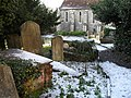 Lingering snow in the churchyard at St Mary, Guildford - geograph.org.uk - 1632059.jpg
