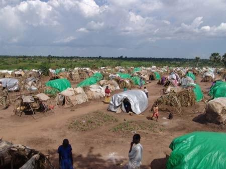 Lira IDP camp makeshift shelters