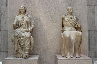Tiberius - Tiberius and his mother Livia, AD 14-19, from Paestum, National Archaeological Museum of Spain, Madrid
