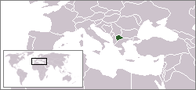 A map showing the location of North Macedonia