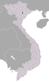 A map of modern Vietnam, with the location of the Lý dynasty capital highlighted. If Vietnam was divided up horizontally into three sections of equal height, the highlighted area would be in the center, both horizontally and vertically, of the topmost of the three sections.