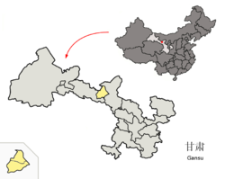 Location of Jinchang City jurisdiction in Gansu