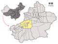 Location of Toksu within Xinjiang (China).png