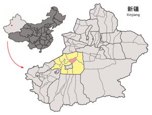 Xinhe County, Xinjiang - Image: Location of Toksu within Xinjiang (China)