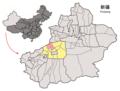 Location of Wensu within Xinjiang (China).png