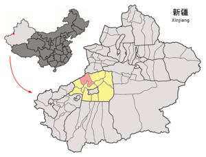Wensu County - Image: Location of Wensu within Xinjiang (China)
