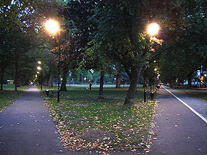 London Fields - London Fields at twilight. The bicycle path on the right leads to the Pub on the Park. (October 2005)