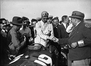 Alfa Romeo in motorsport - Louis Chiron after winning the 1934 French Grand Prix with Alfa Romeo P3.