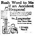 Lungmotor resuscitation device advertisement (newspaper, 1917).jpg