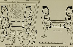 Goddards - Ground floor and first floor plans, after the wings were extended in 1910
