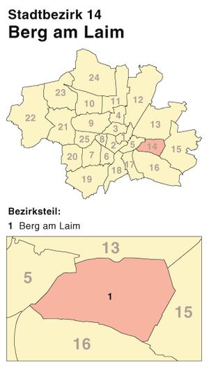 Berg am Laim - Image: München Stadtbezirk 14 (Karte) Berg am Laim