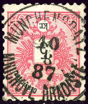 Mnichovo Hradiště - Austrian KK stamp, cancelled bilingual in 1887