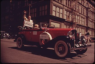 """William Proxmire - William Proxmire taking part in """"Old Milwaukee Days"""" annual parade, photo from September, 1973"""