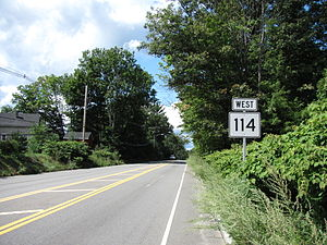Massachusetts Route 114 - Route 114 westbound in Middleton