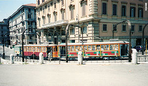 Trams in Rome - Motorcars MRS 2055, 2219 and 2221 at Piazzale Flaminio, 1996.