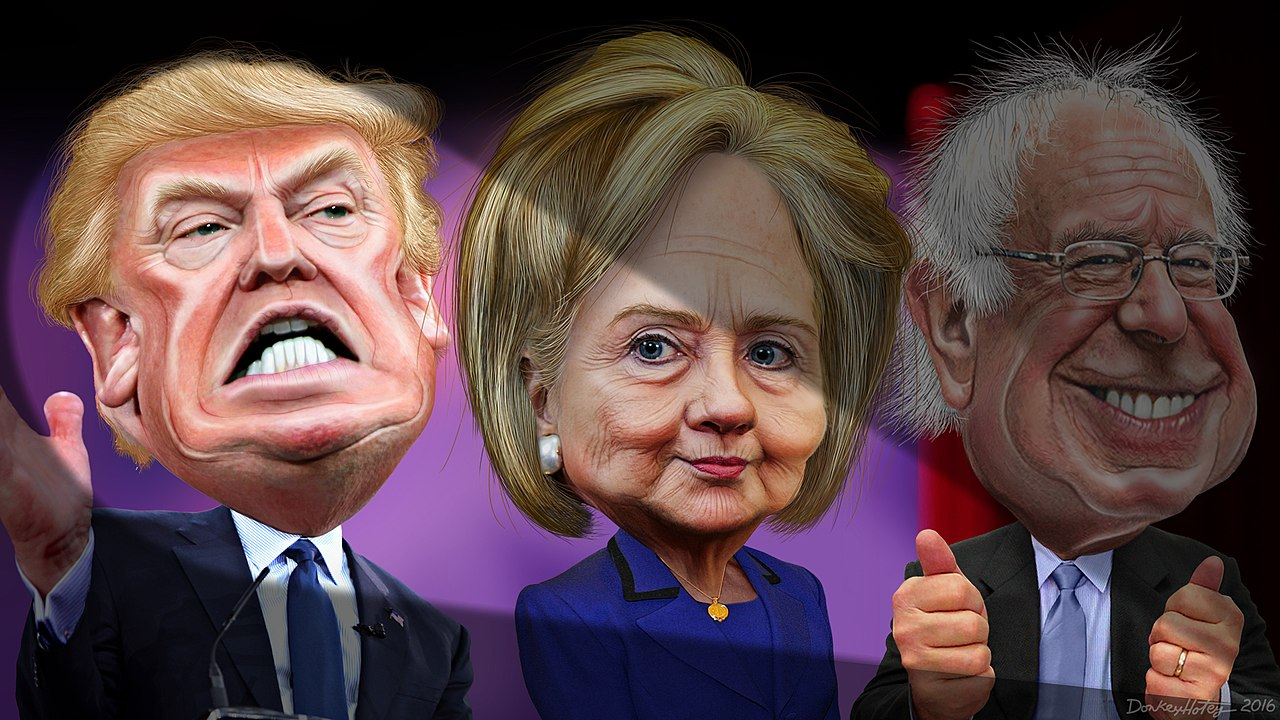 MSM spotlights Donald Trump vs. Hillary Clinton and Bernie Sanders (24311159914).jpg