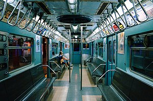 R33 World's Fair (New York City Subway car) - Image: MTA NYC Subway R33WF 9306 interior
