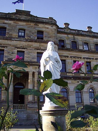 Saint Ignatius' College, Riverview - Statue of the Sacred Heart in Rose Garden; Main Building